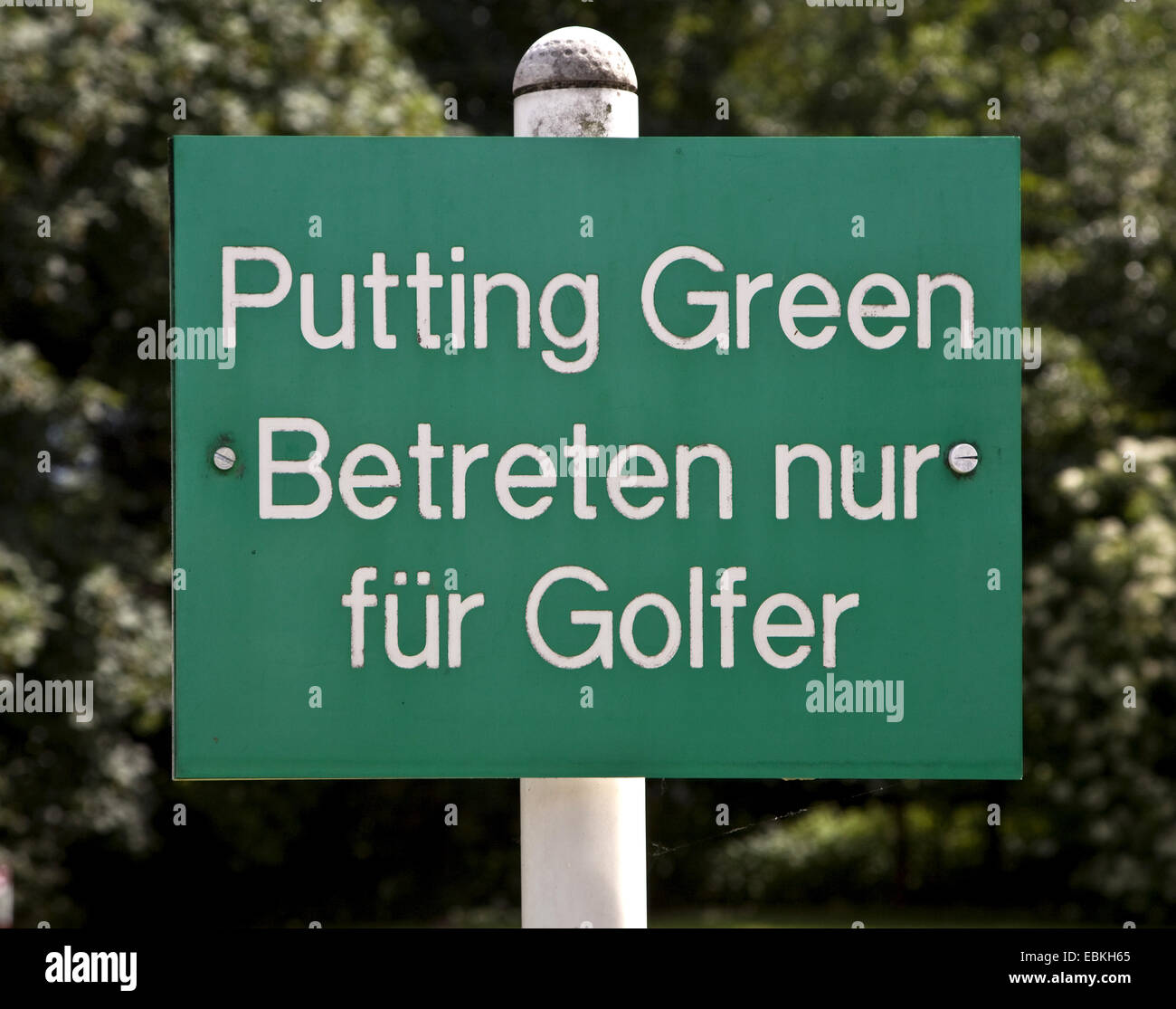 sign on golf course labeled 'Putting Green - access only for golfer', Germany - Stock Image