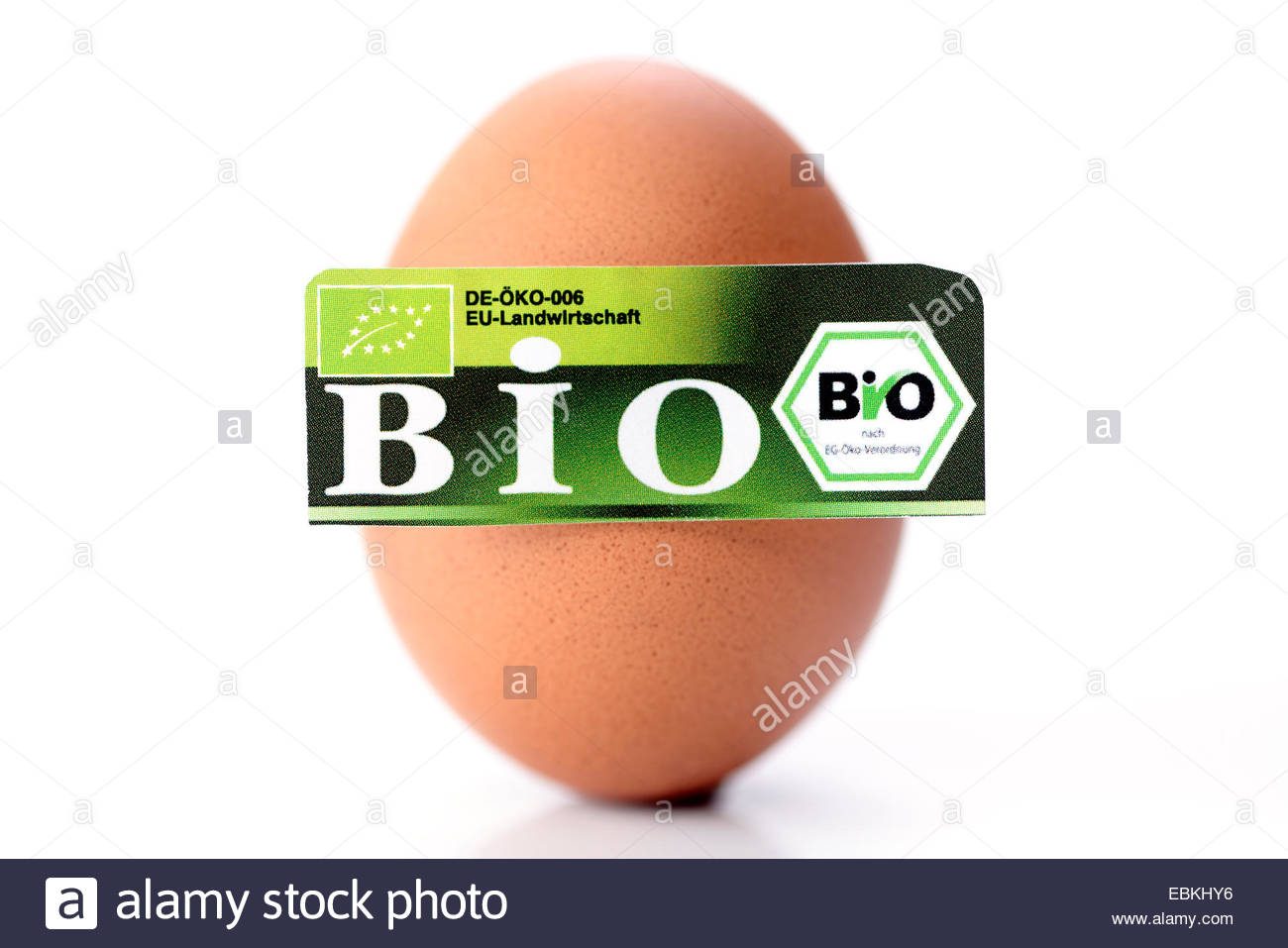 hen's egg with organic certification Stock Photo