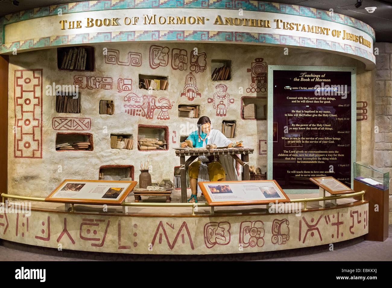 Salt Lake City, Utah - A display about the Book of Mormon at a Mormon visitor center in Temple Square. - Stock Image
