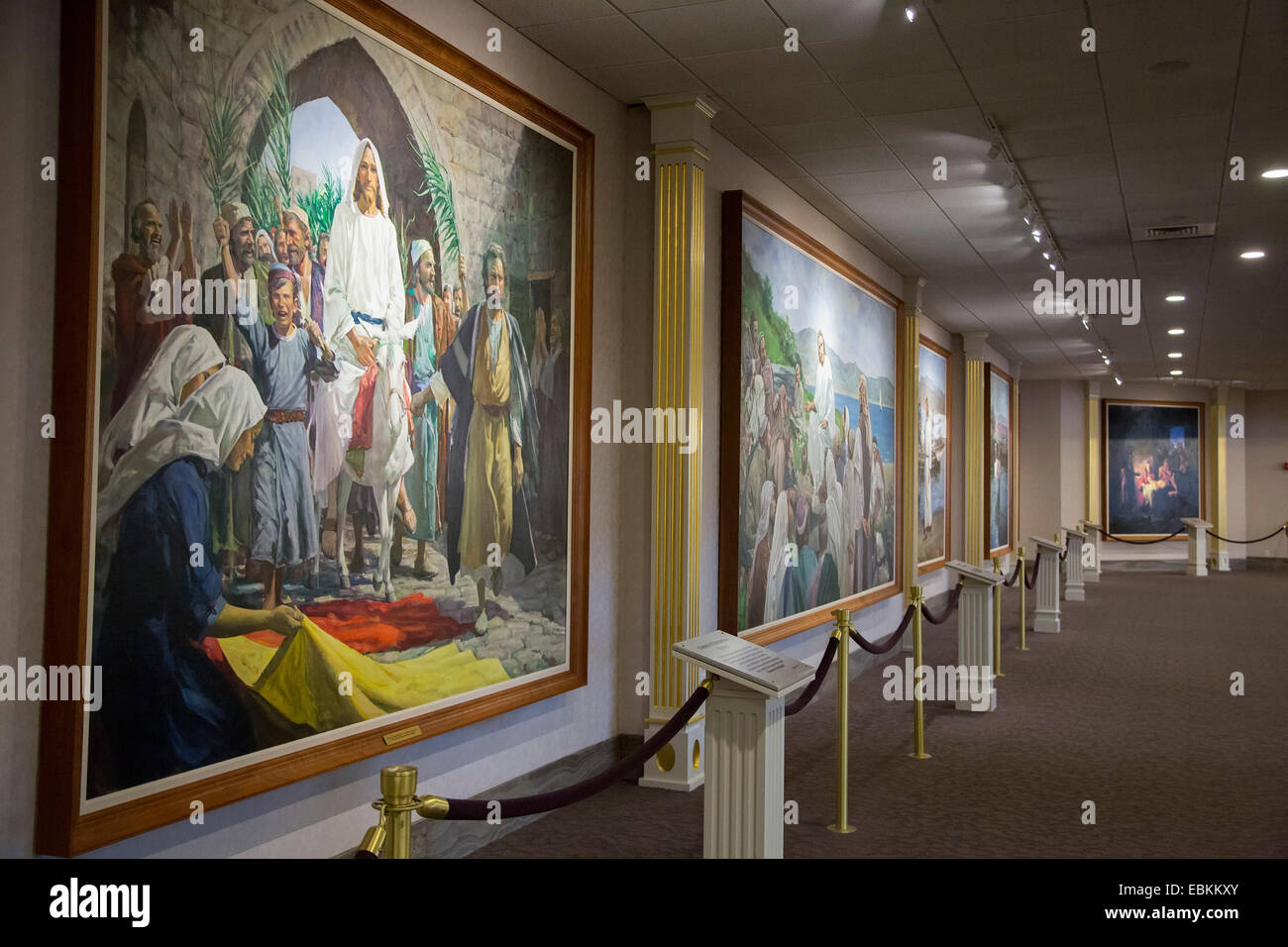 Salt Lake City, Utah - Paintings about the life of Jesus Christ on the walls of a Mormon visitor center in Temple - Stock Image