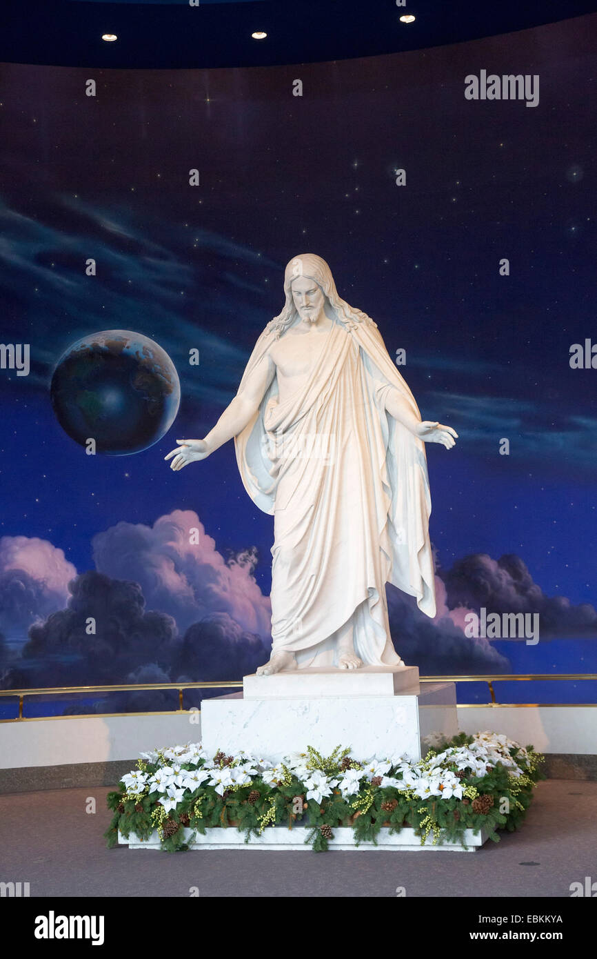 Salt Lake City, Utah - A statue of Jesus Christ in a Mormon visitor center in Temple Square. - Stock Image