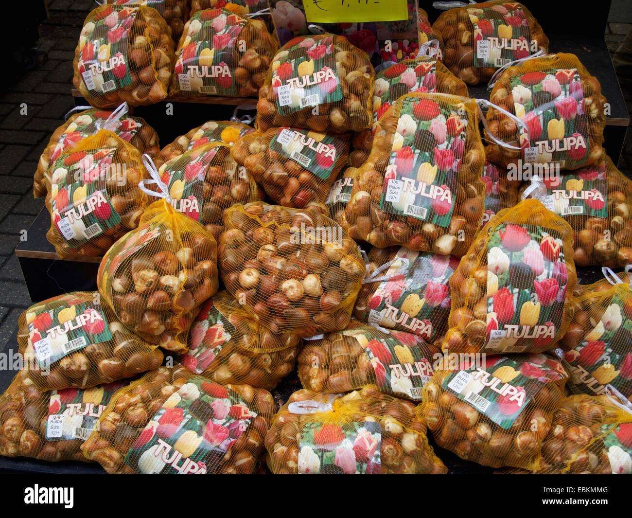 Bulbs in sacks, Bloemenmarkt, Amsterdam, Province of North Holland, Holland, The Netherlands, Europe - Stock Image