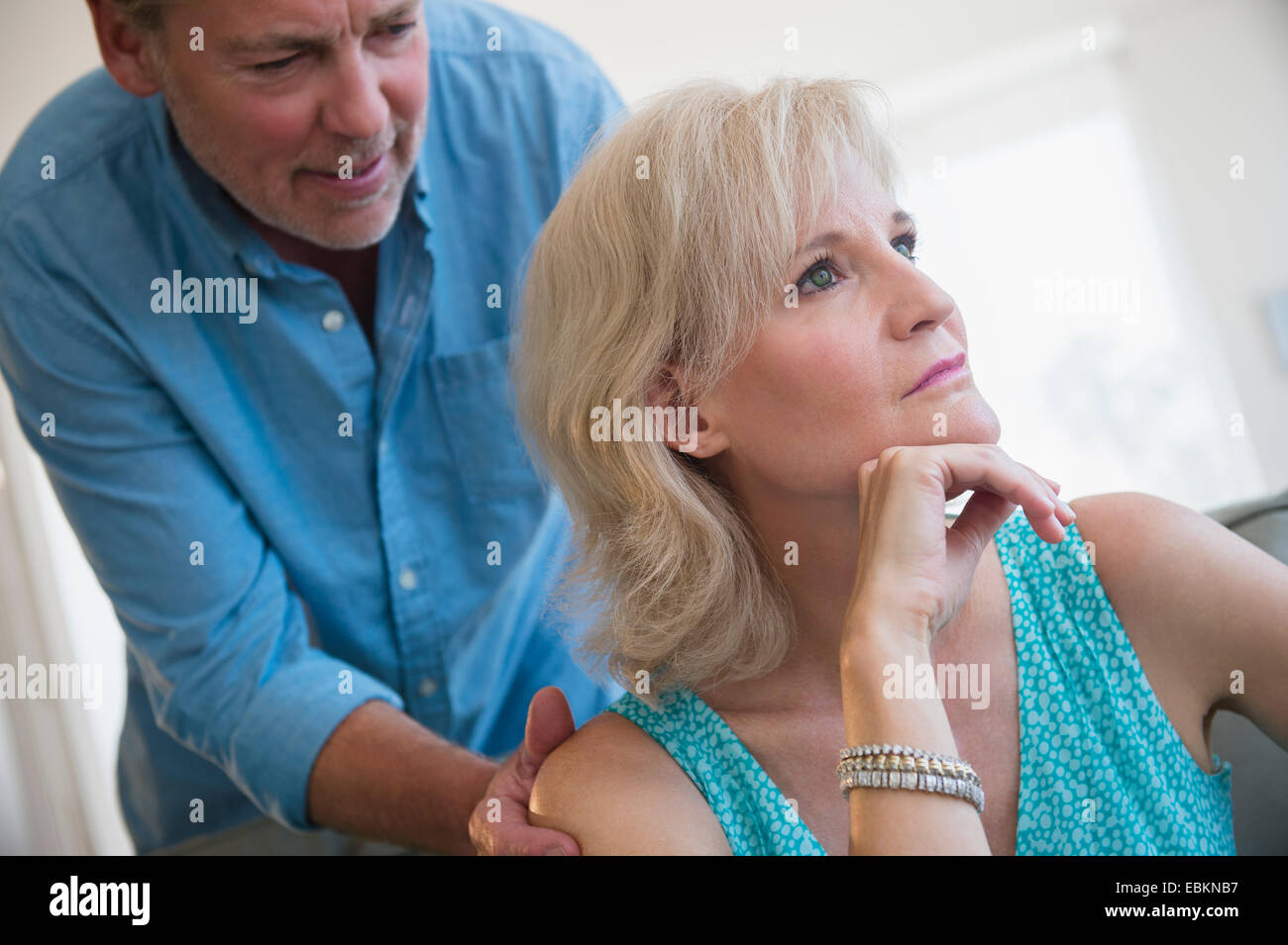 Portrait of couple experiencing relationship difficulties - Stock Image