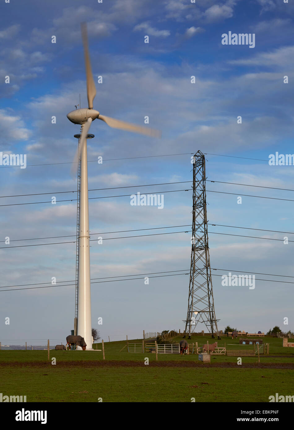 Wind turbine and electricity pylon in rural location. - Stock Image