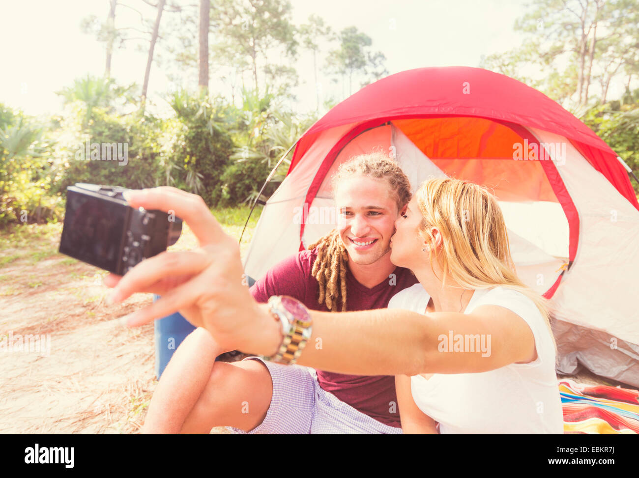 USA, Florida, Tequesta, Couple taking selfie Stock Photo