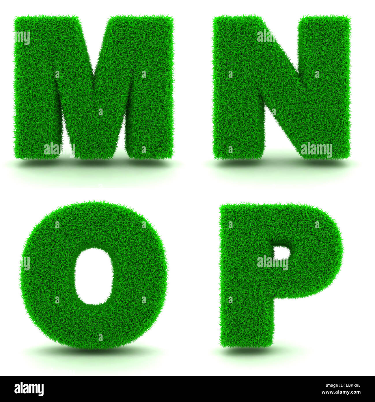 Letters MNOP Alphabet Set of Green Grass on White Background in 3d
