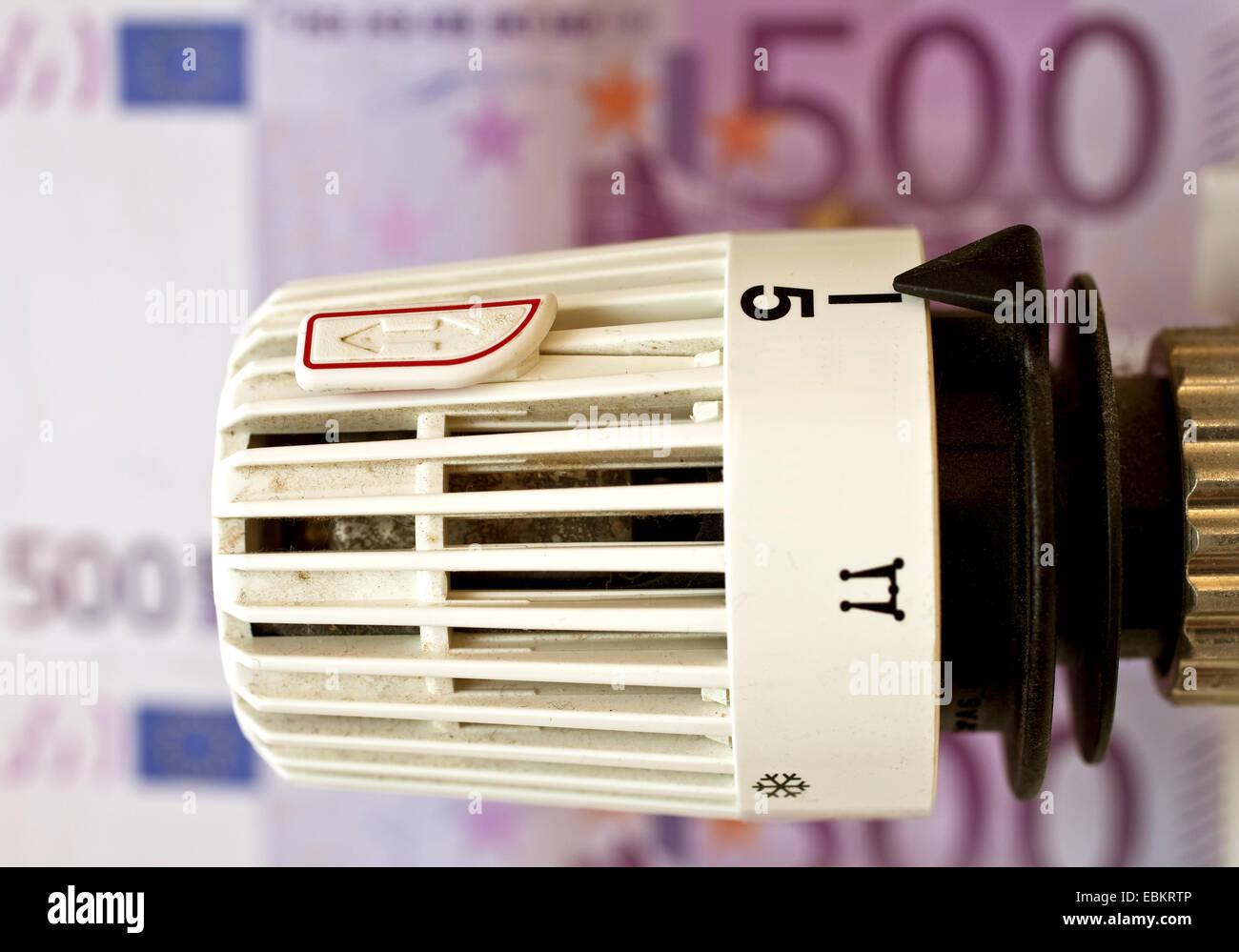 heating thermostat and Euro bills, heating coasts symbol, Germany - Stock Image