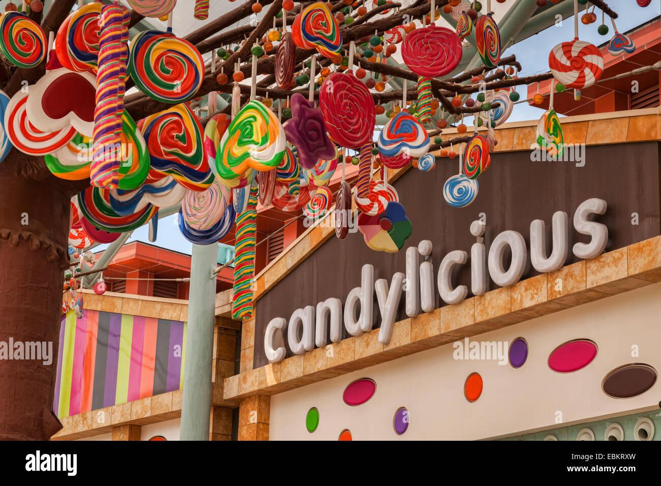 Candylicious logo and shop on Sentosa Island, Singapore Stock Photo