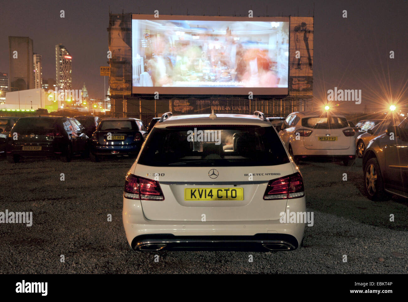 Drive in cinema in Liverpool, UK, showing Grease - Stock Image