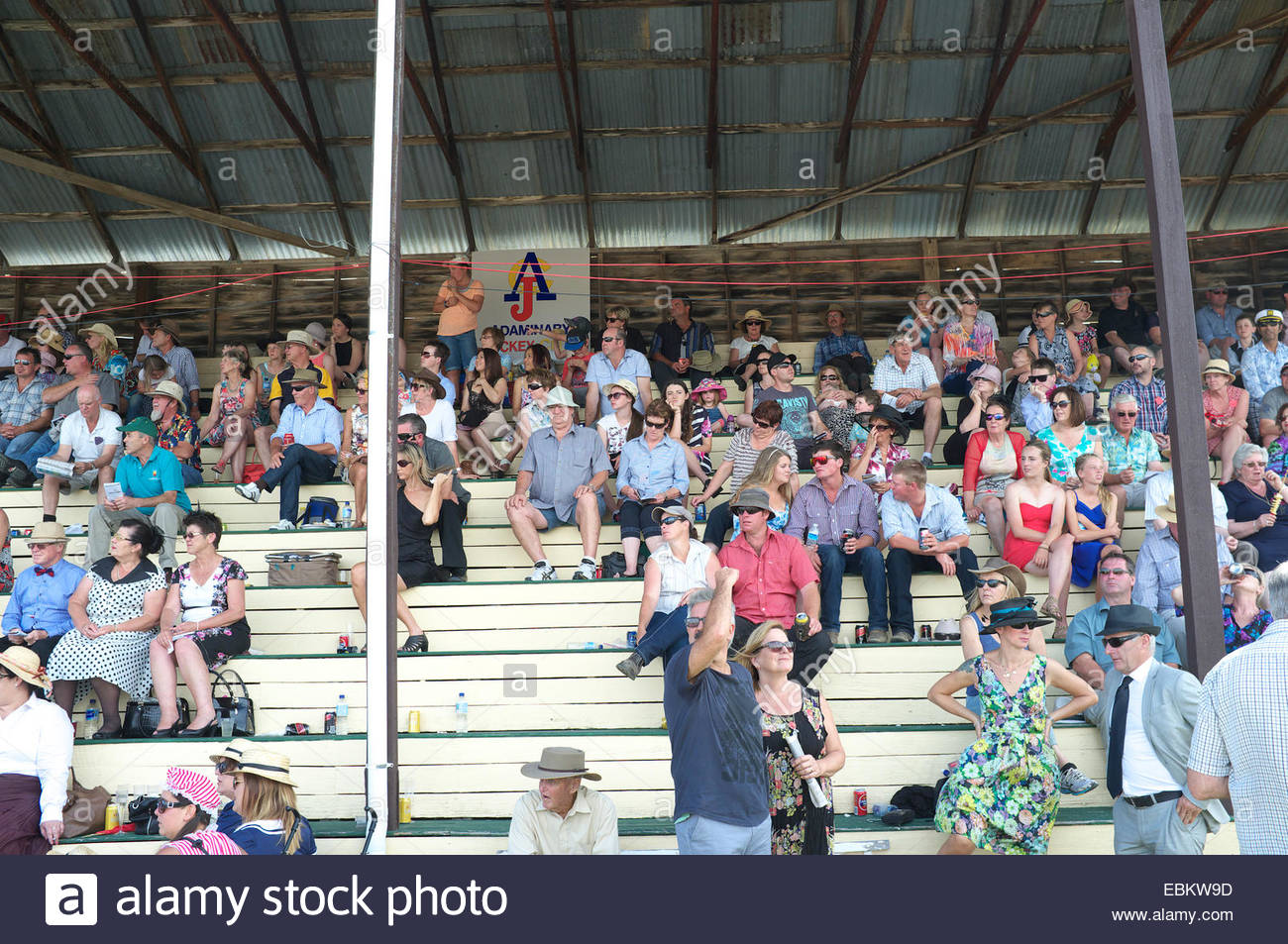 Spectators in the grandstand at the Adaminaby Races (horse racing), in the Snowy Mountains, New South Wales, Australia. - Stock Image
