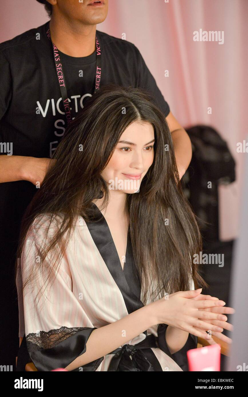 Sui He backstage for Victoria's Secret Fashion Show 2014 - Hair and Makeup Backstage, Earl's Court, London, -- December 2, 2014.