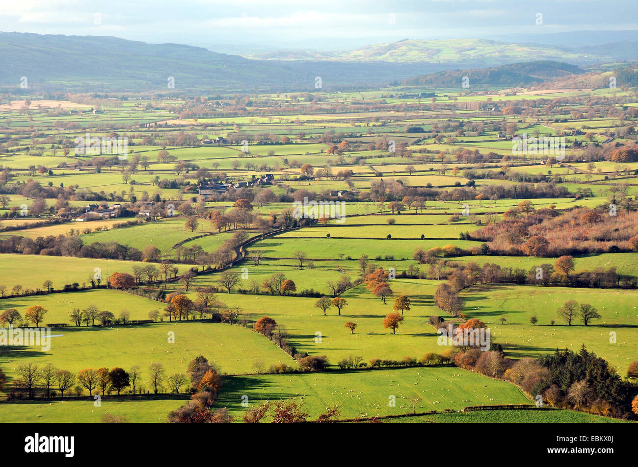 Looking west from the Long Mynd across South Shropshire to Wales. - Stock Image