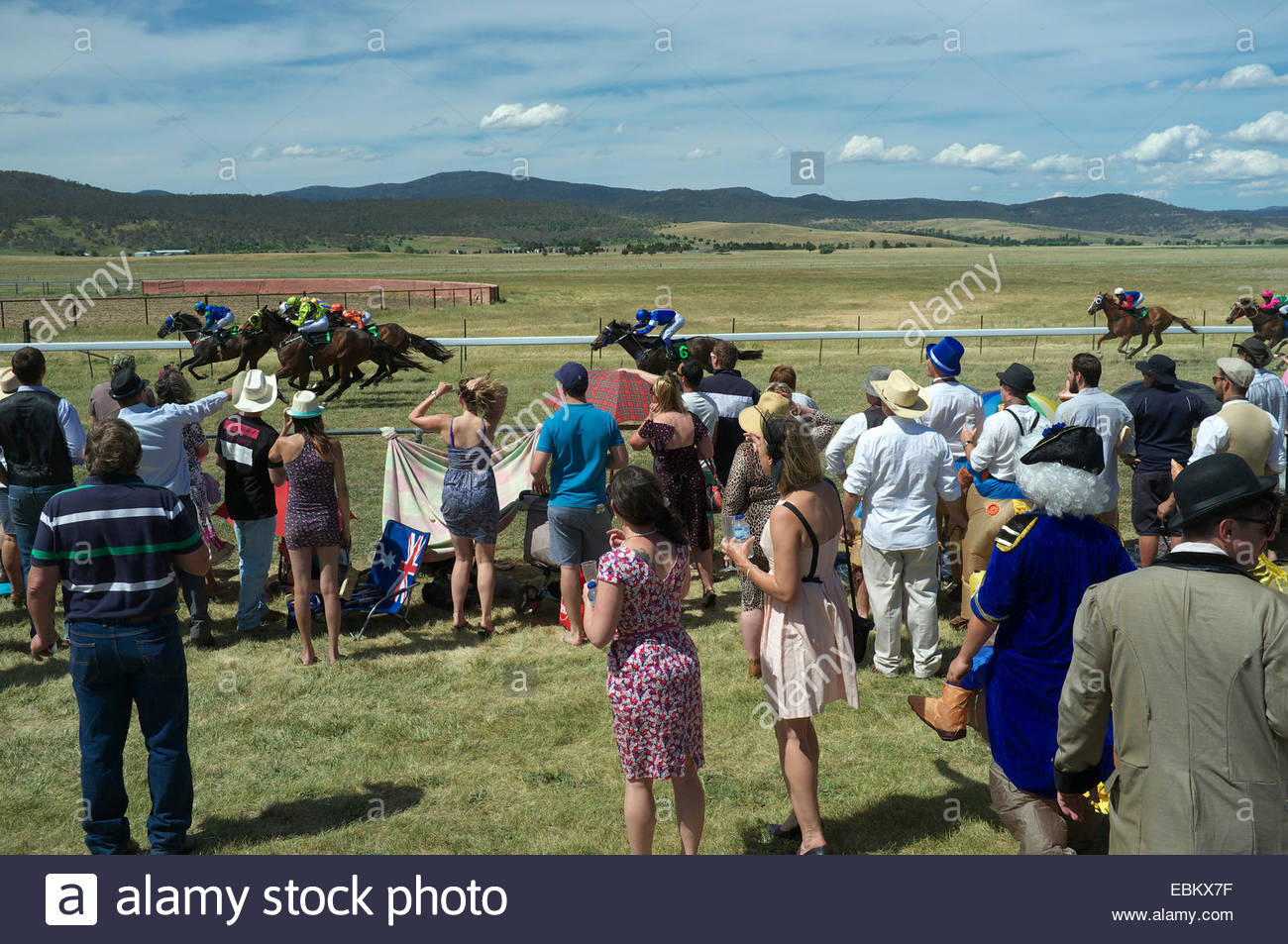 Spectators at the Adaminaby Races (horse racing), in the Snowy Mountains, New South Wales, Australia. - Stock Image