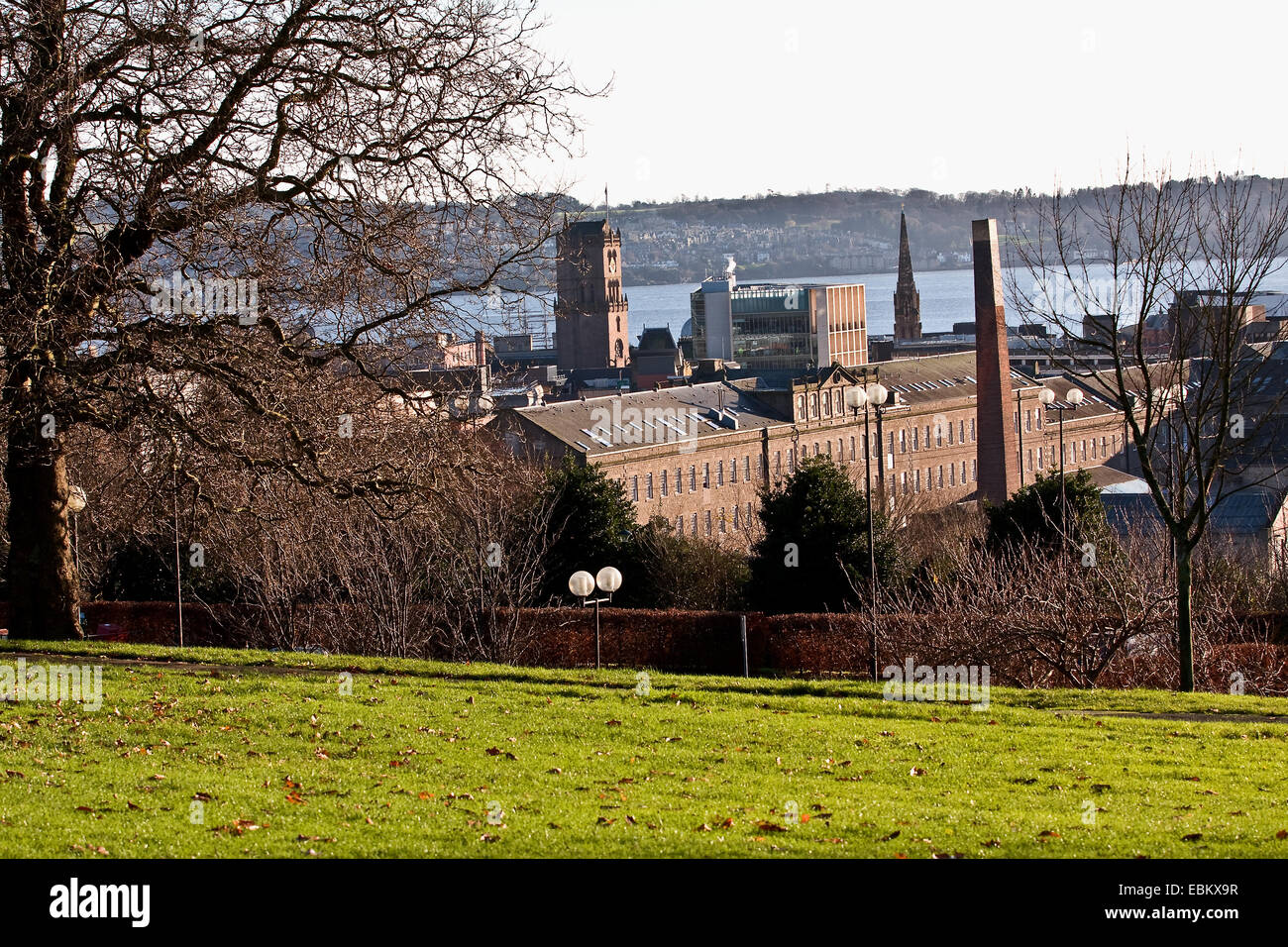 A view of The Tay Works was one of the longest textile mills in Britain owned by the Gilroy Brothers and Co in Dundee,UK - Stock Image