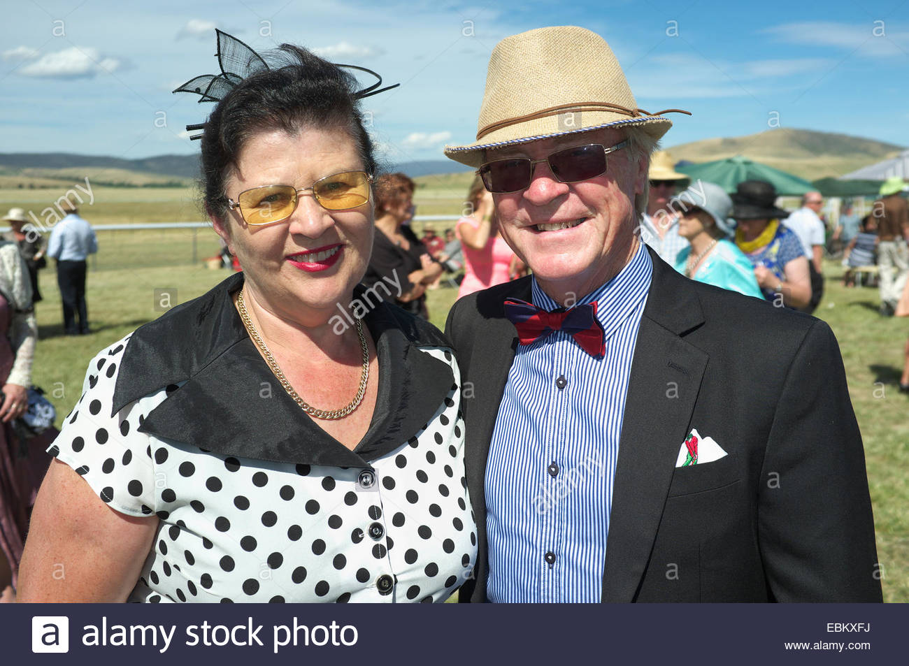 Spectators wearing vintage clothing, at the Adaminaby Races (horse racing), in the Snowy Mountains, New South Wales, - Stock Image