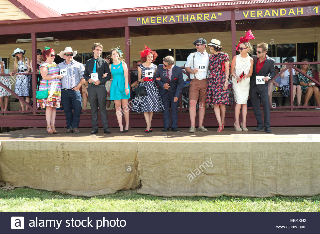 Vintage couple competition at the Adaminaby Races (horse racing), in the Snowy Mountains, New South Wales, Australia. - Stock Image