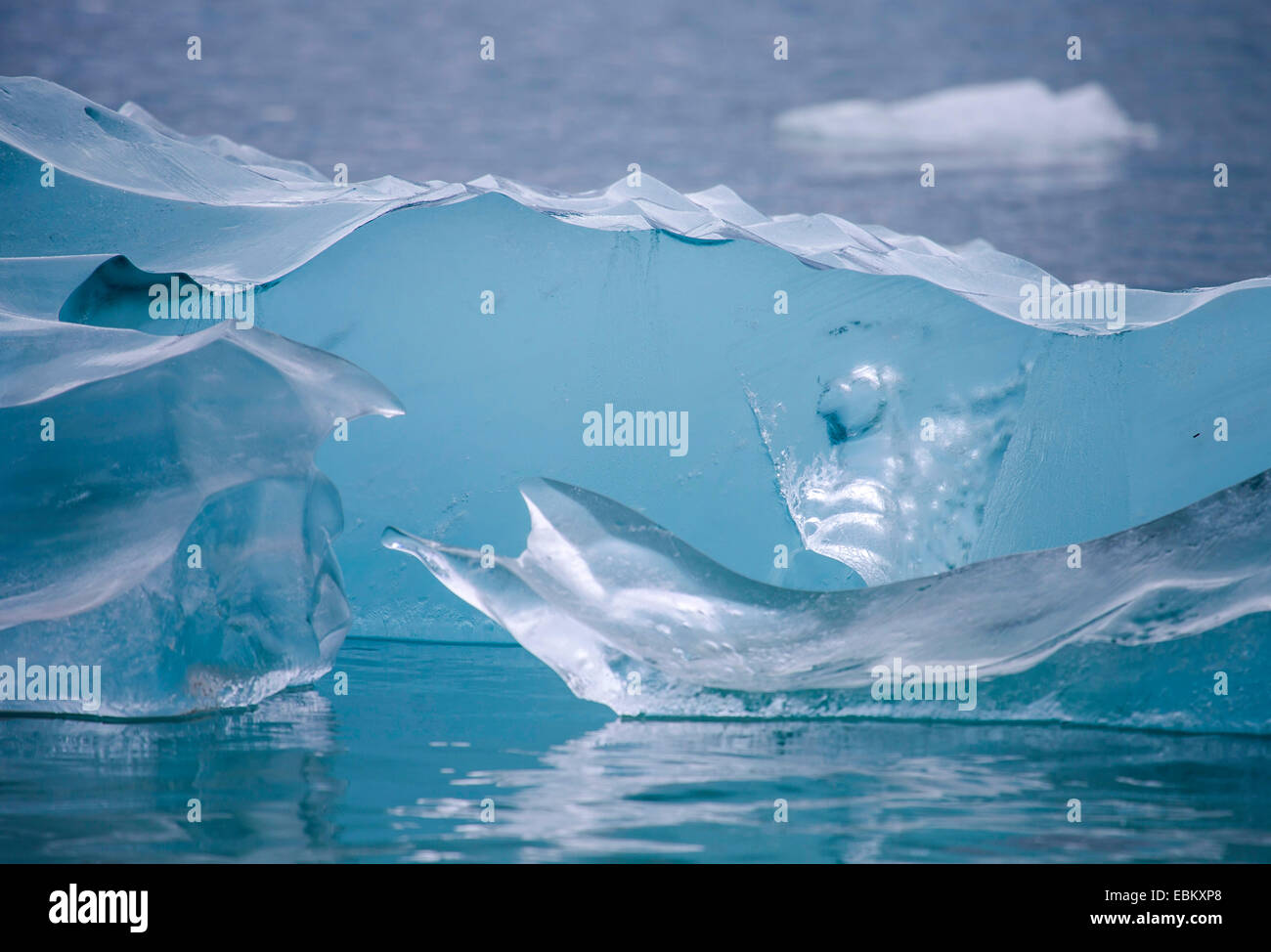 glacier ice weirdly shaped, Norway, Svalbard, Hamiltonbukta - Stock Image