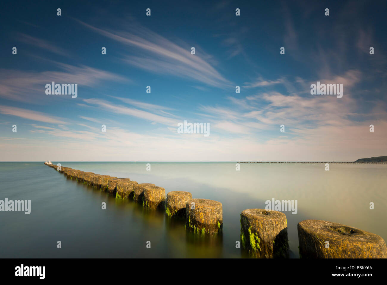 spur dike in morning light, longtime exposure, Germany, Mecklenburg-Western Pomerania, Hiddensee - Stock Image