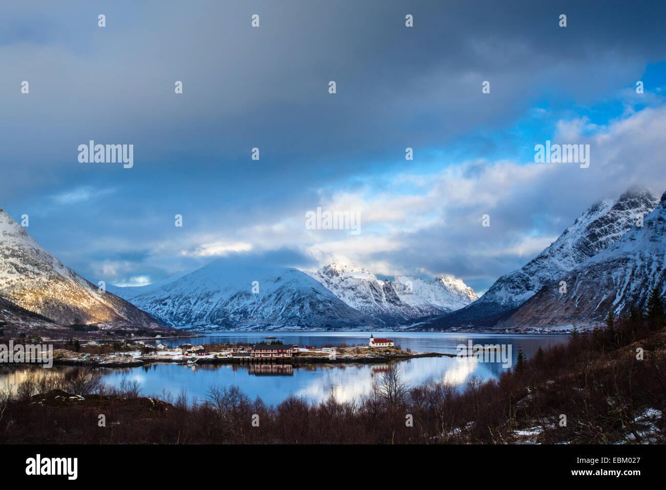 Little village at Austnesfjord, Lofoten, Norway - Stock Image