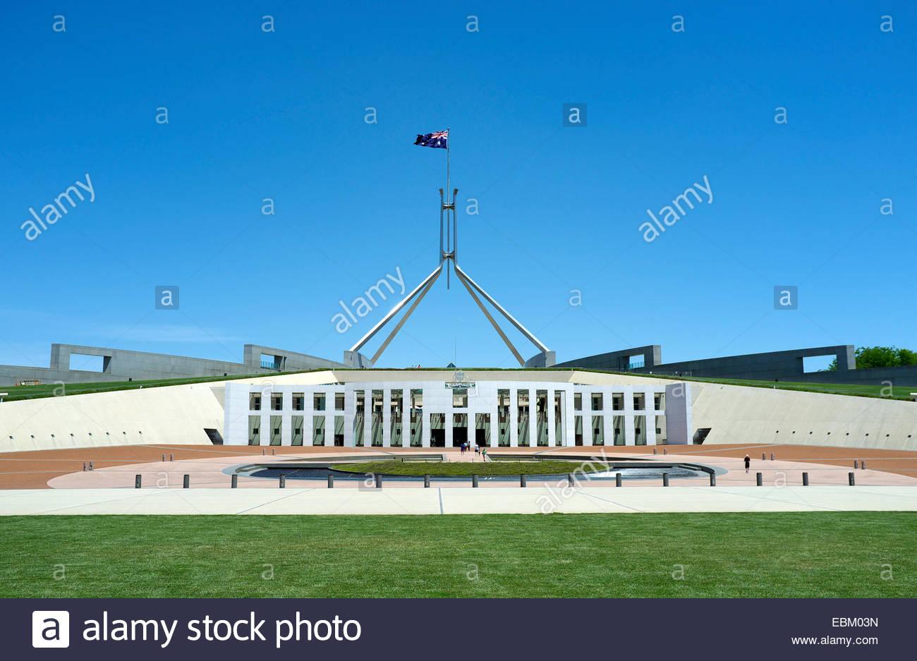 Australian capital city - Parliament House, on Capital Hill. Canberra, Australian Capital Territory, Australia. - Stock Image