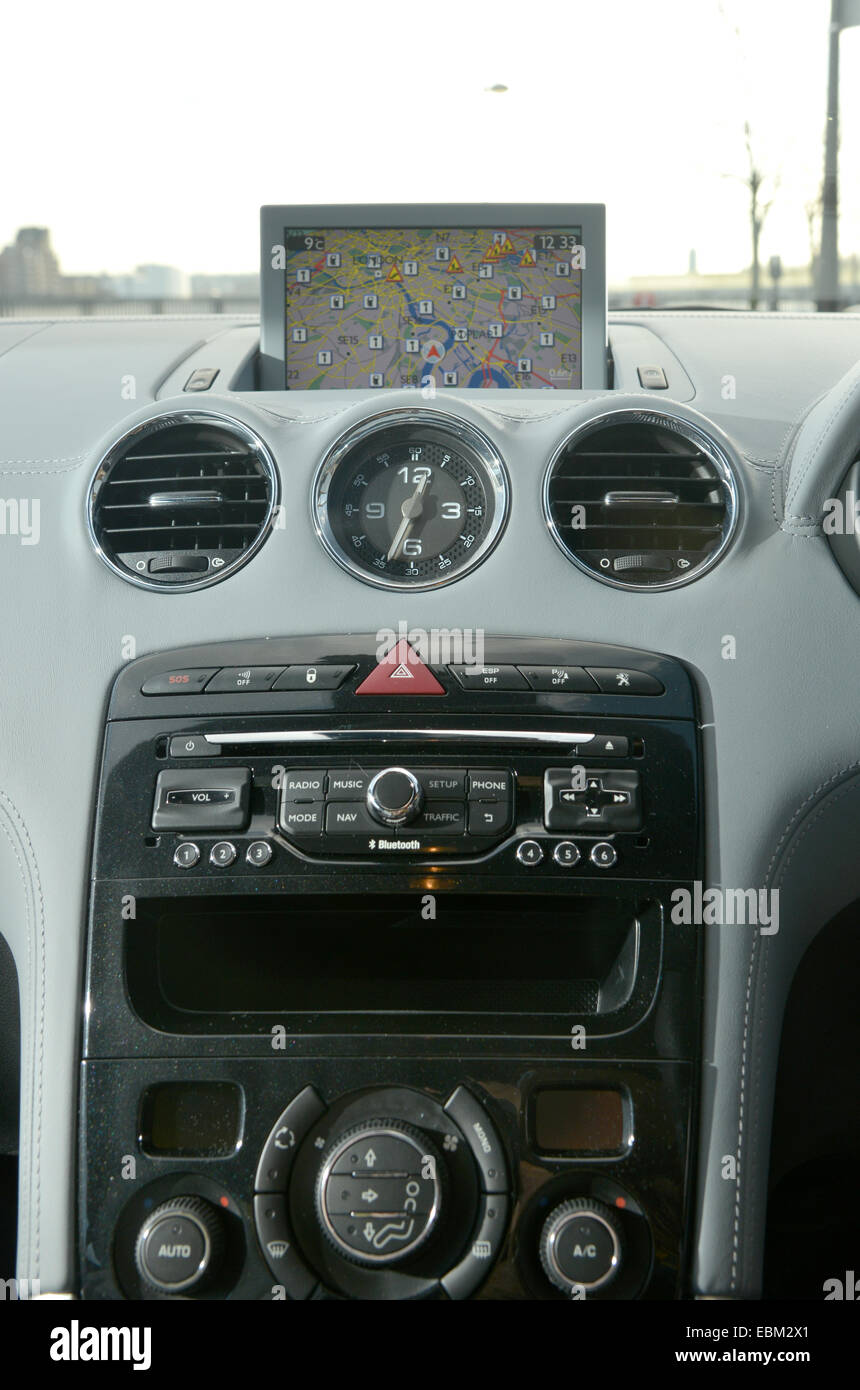 2013 Peugeot RCZ coupe sports car sat nav and dash Stock Photo