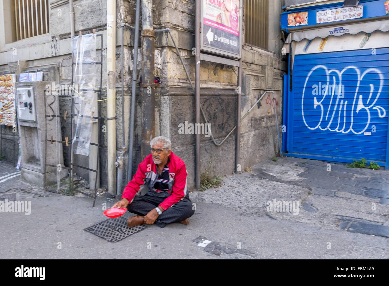 A beggar on the streets of Naples. - Stock Image