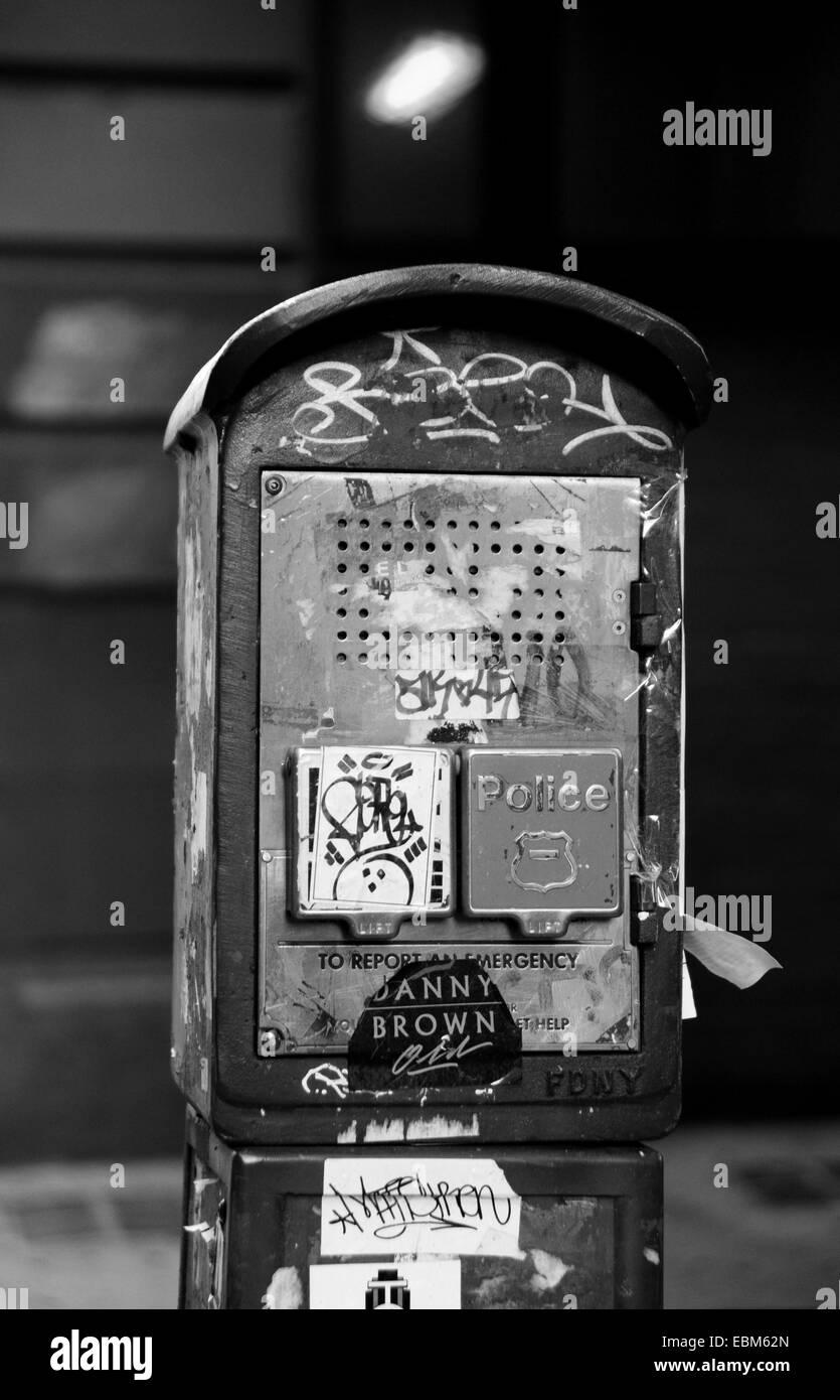 Manhattan New York USA November 2014  - Emergency police telephone box on street in city centre  Photograph taken - Stock Image