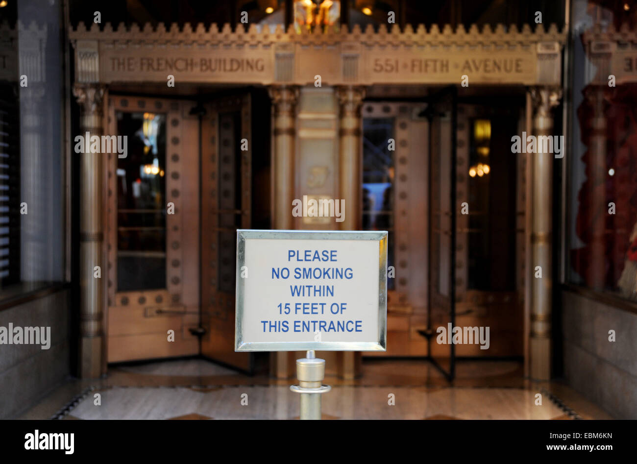 Manhattan New York USA November 2014  - No Smoking within Fifteen Feet of this entrance at French Building Fifth Stock Photo
