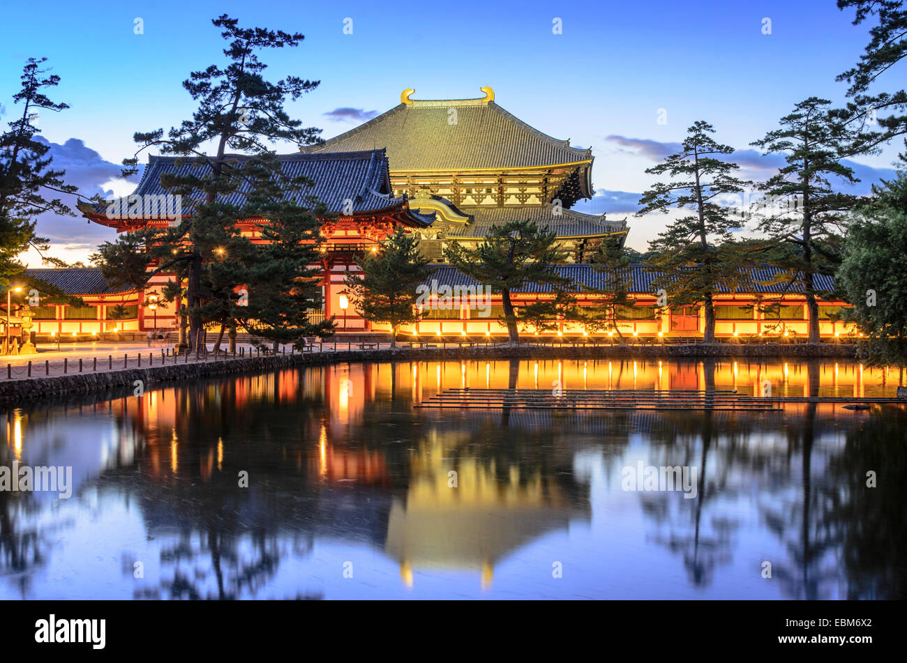 Nara, Japan at Todaiji Temple at twilight. - Stock Image