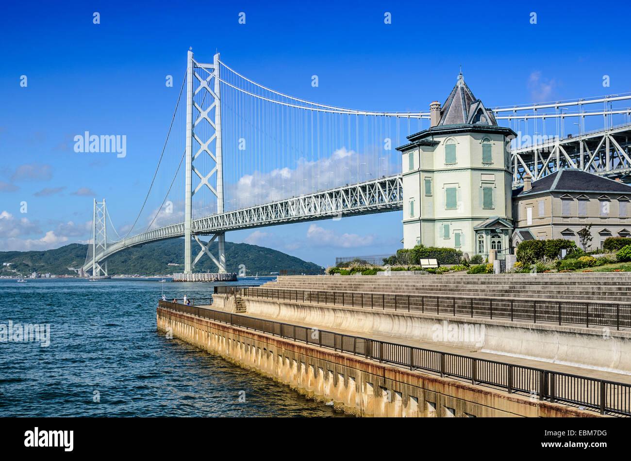 Kobe, Japan at Akashi Kaikyo Bridge spanning the Seto Inland Sea to Awaji Island. - Stock Image