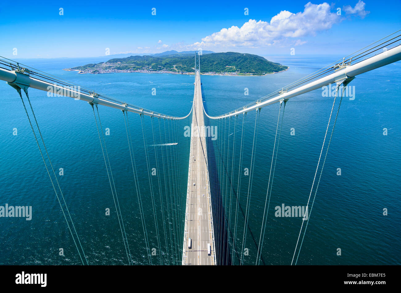Awaji Island, Japan viewed from Akashi Kaikyo Bridge Tower. - Stock Image