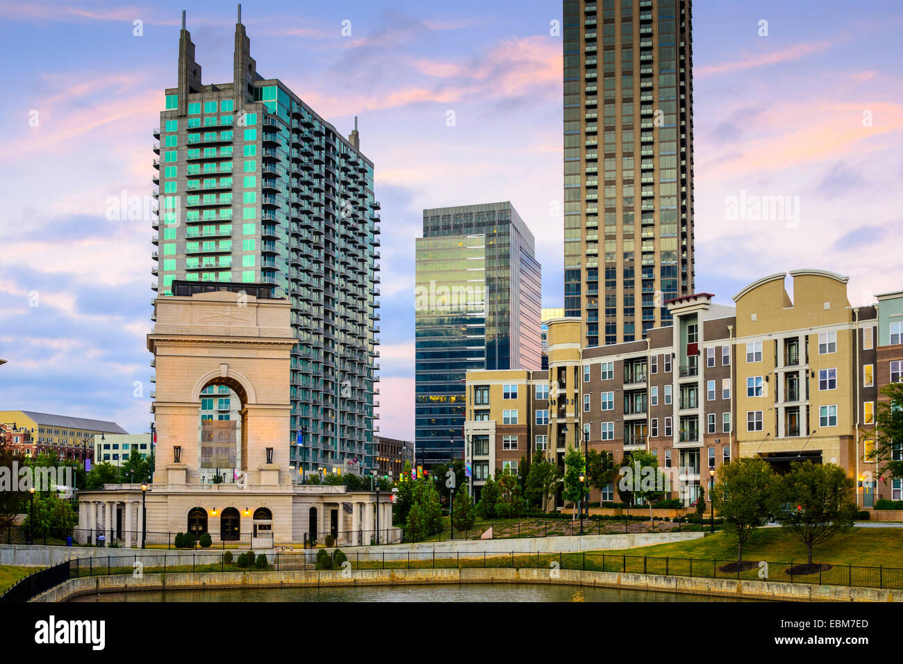 Atlanta, Georgia, USA city skyline at Atlantic station. - Stock Image