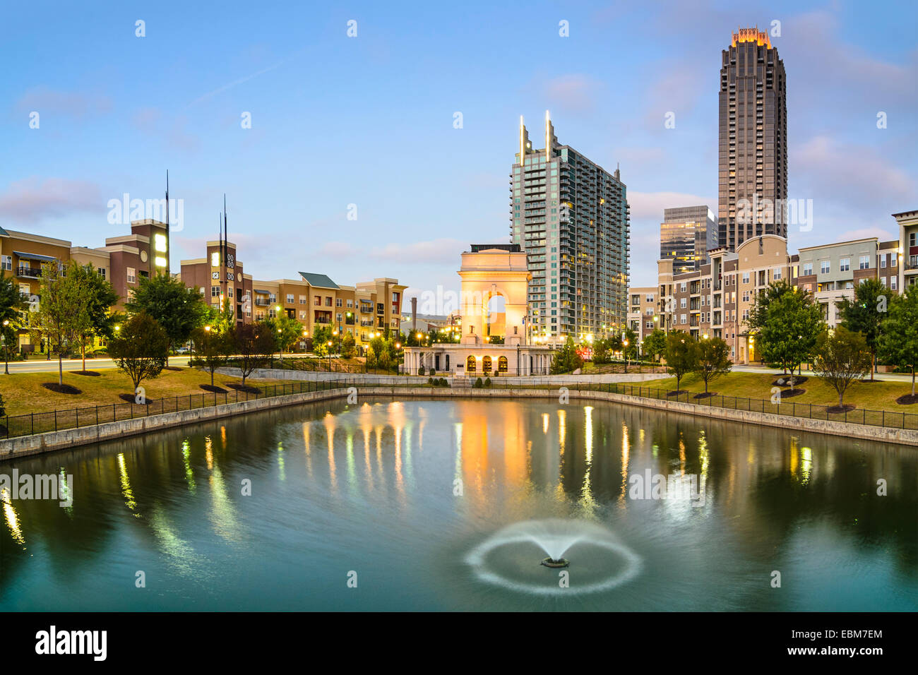Atlanta, Georgia, USA city skyline at Atlantic station. Stock Photo