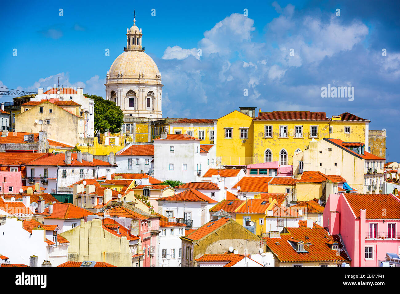Lisbon, Portugal skyline at Alfama, the oldest district of the city with the National Pantheon. - Stock Image