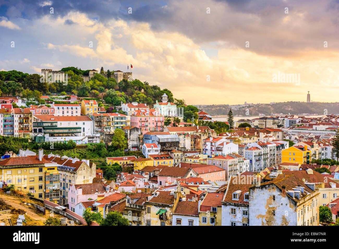 Lisbon, Portugal skyline at Sao Jorge Castle at dusk. - Stock Image