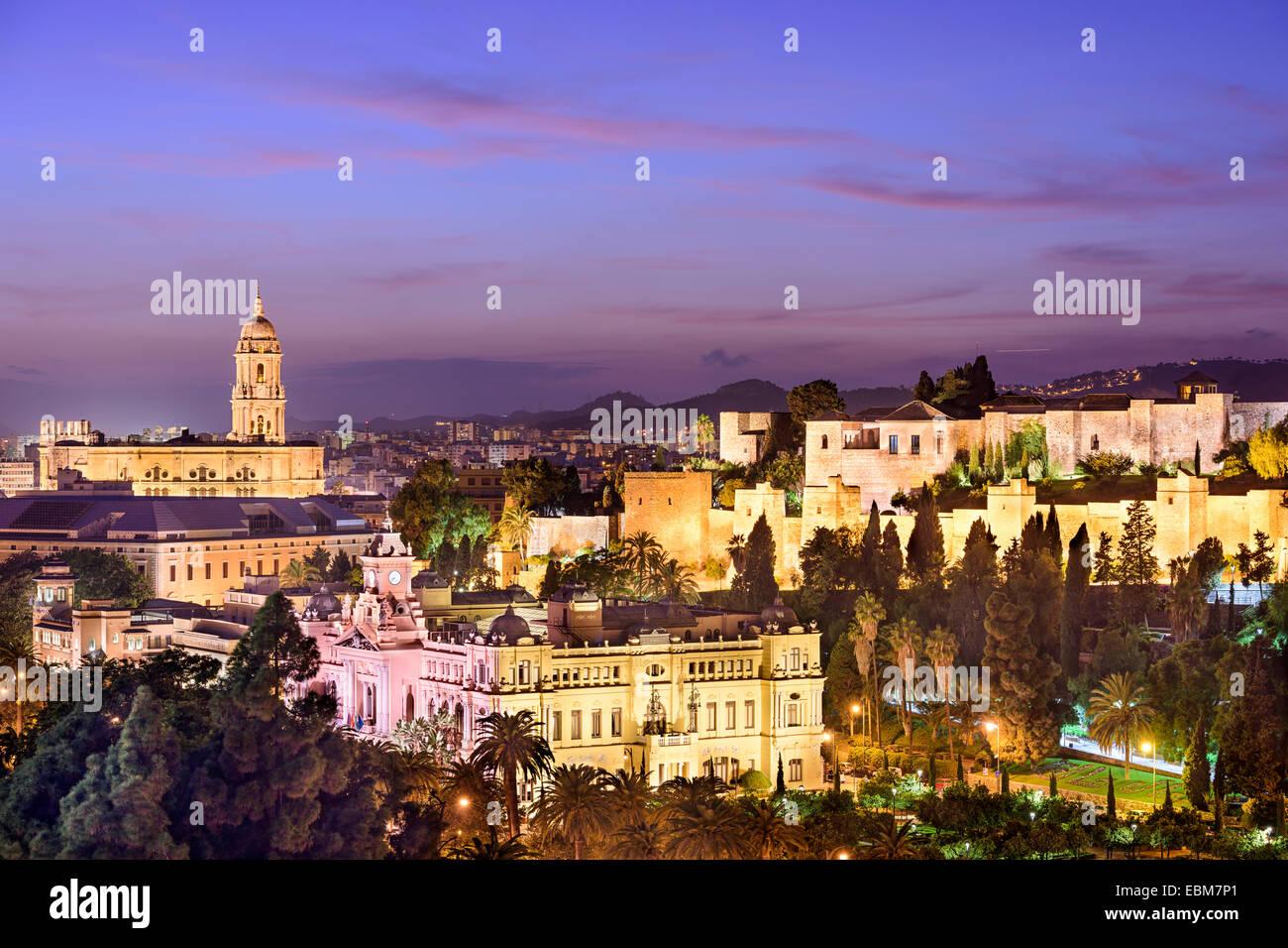 Malaga, Spain cityscape at the Cathedral, City Hall and Alcazaba Moorish fort. Stock Photo