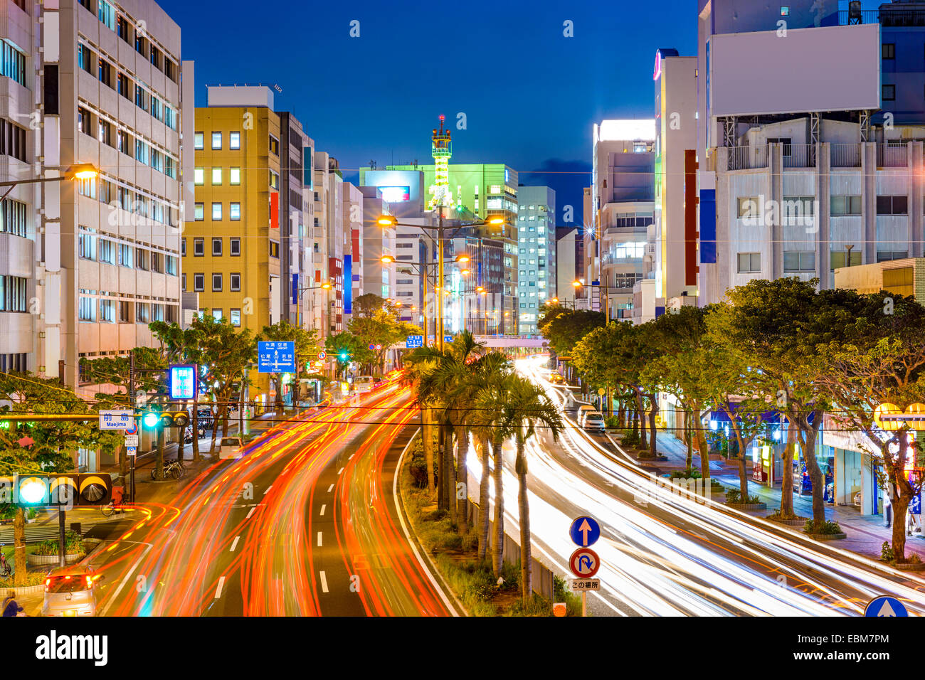 Naha, Okinawa, Japan downtown cityscape over the expressway. - Stock Image