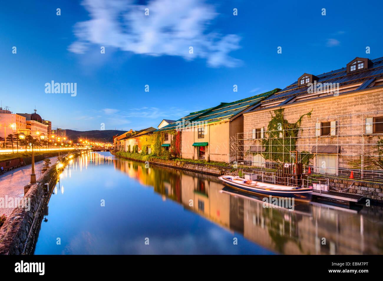 Otaru, Japan historic canal and warehousedistrict. - Stock Image