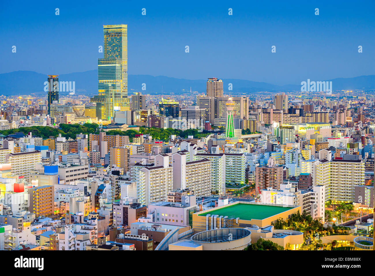 Osaka, Japan cityscape view of Abeno and Shinsekai districts. - Stock Image