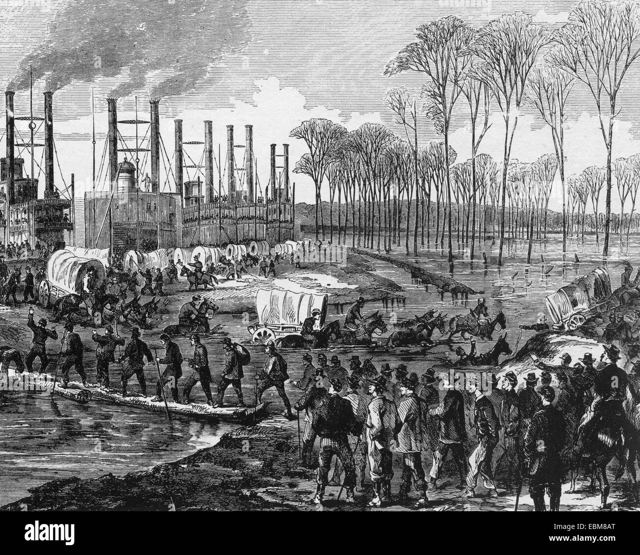 AMERICAN CIVIL WAR Union camp at Young's Point preparing for final assault on Vicksburg in January 1863. Located - Stock Image