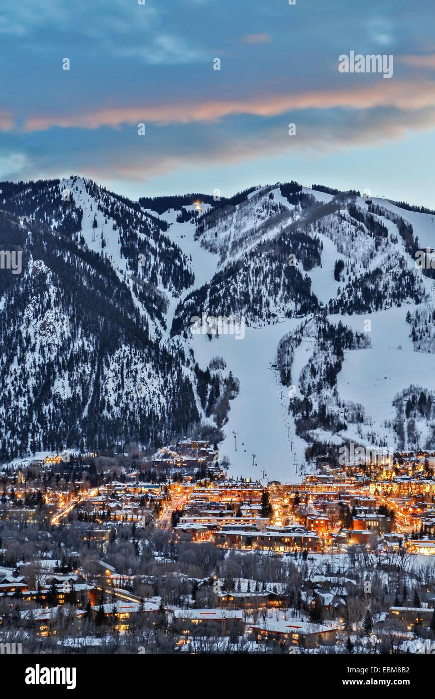 Aspen Mountain and Aspen, Colorado USA - Stock Image
