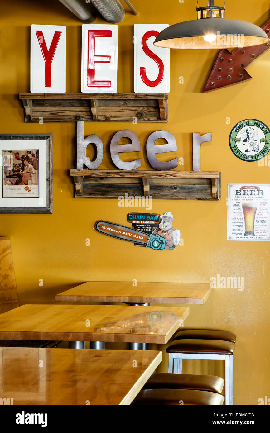 'YES Beer' sign and tables, Il Vicino Brewing Company, Albuquerque, New Mexico USA - Stock Image