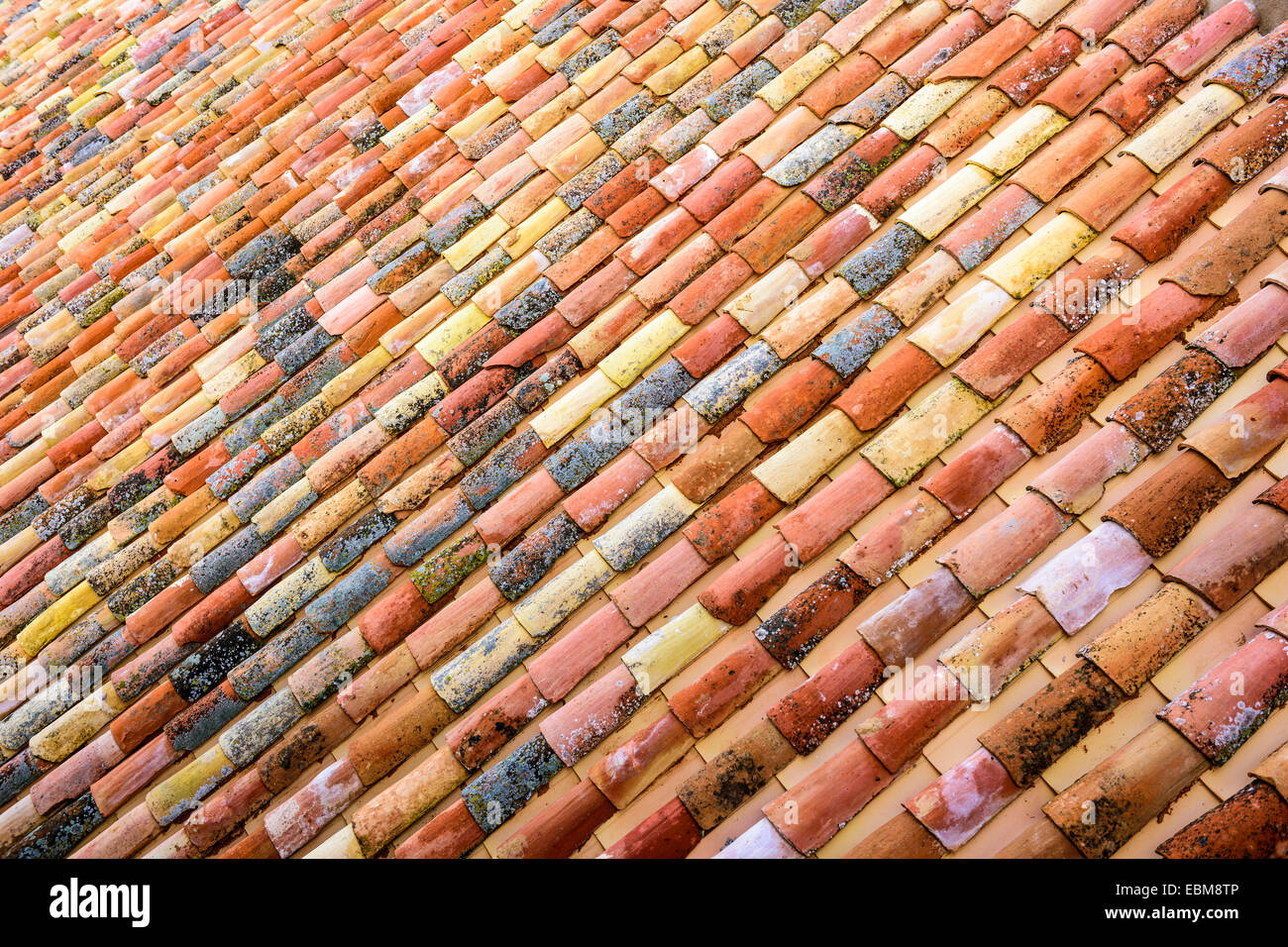 Spanish tiles on a rooftop in Toledo, Spain. - Stock Image