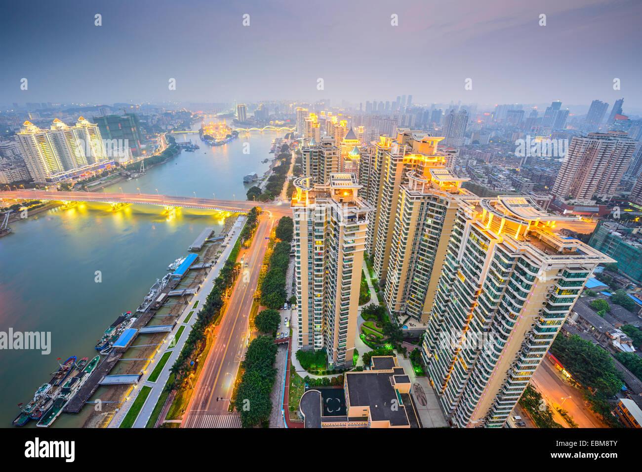 Fuzhou, China cityscape overlooking the Ming River. - Stock Image