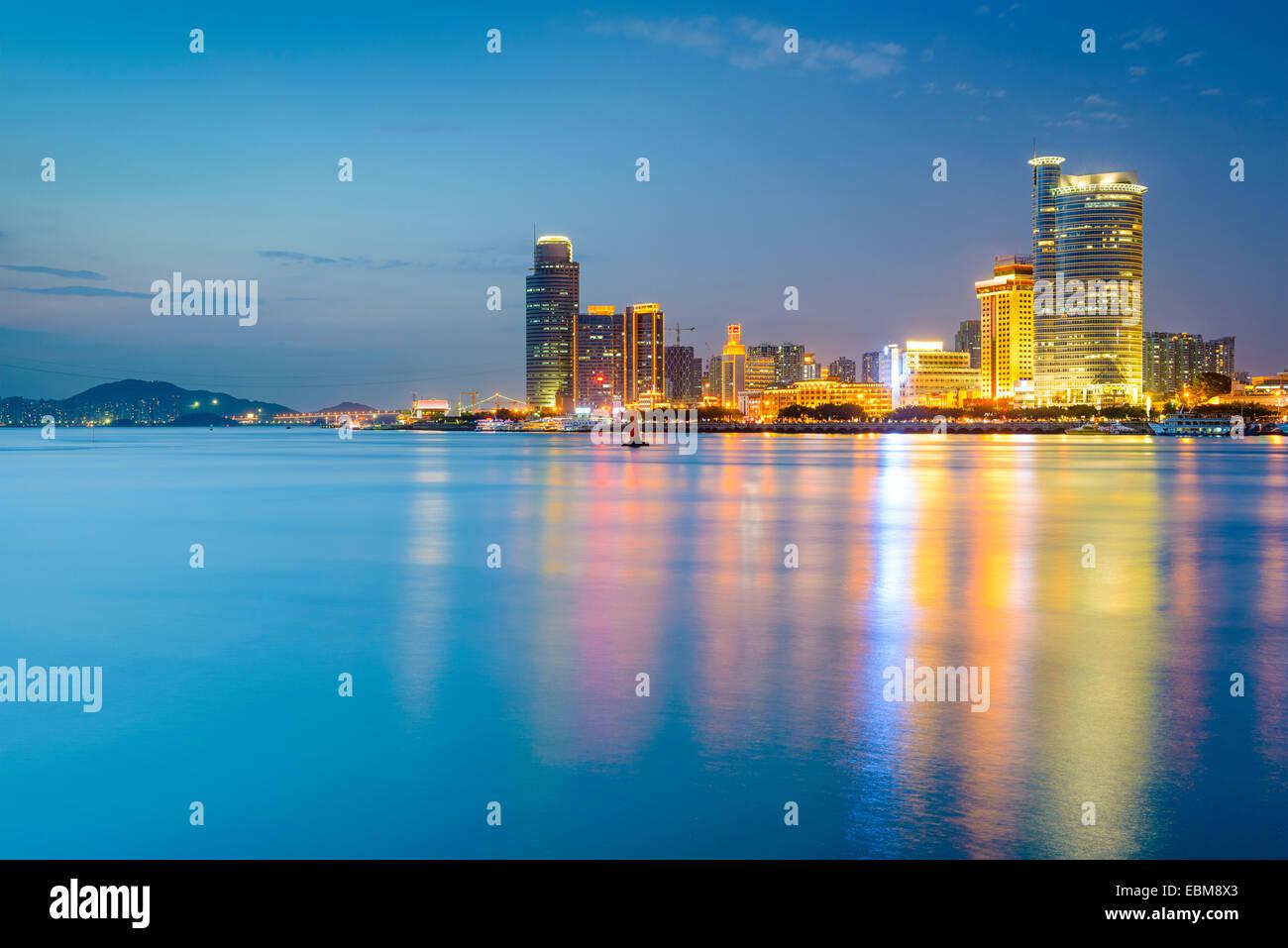 Xiamen, China skyline of Amoy Island. - Stock Image