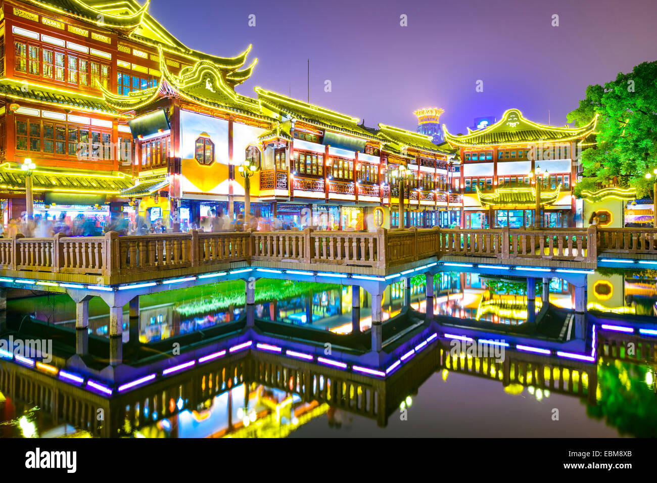 Shanghai, China at Yuyuan Gardens district. - Stock Image