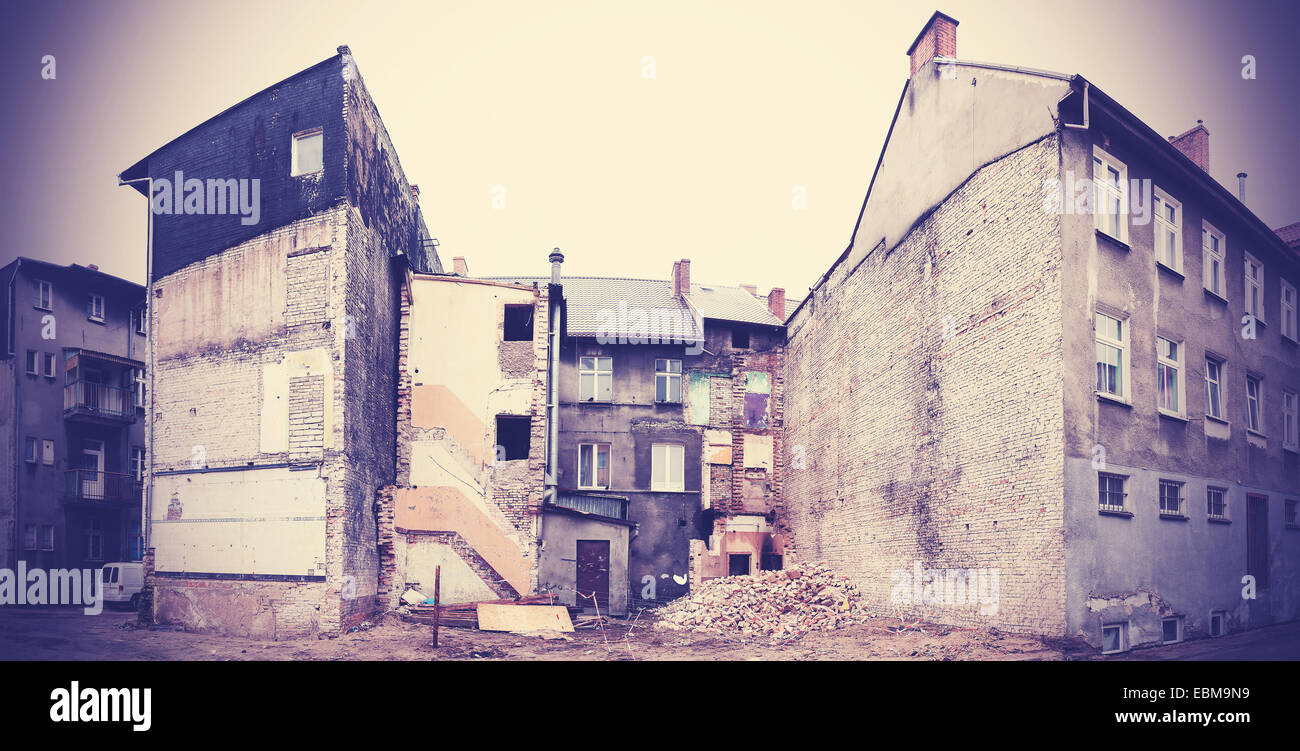 Decayed and partly demolished building in Bialogard, Poland. - Stock Image