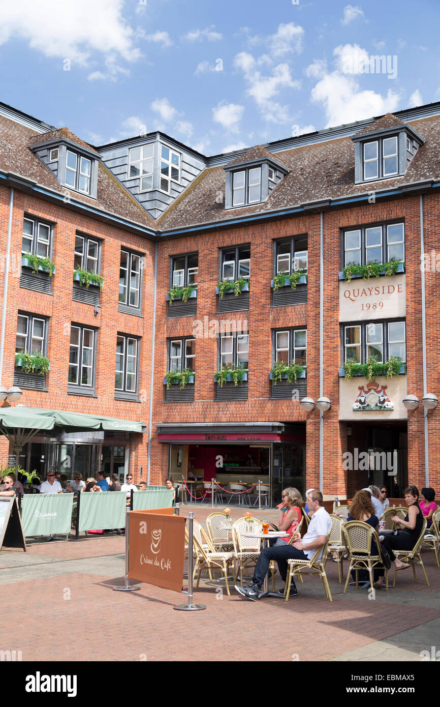 UK, Cambridge, cafes and bars at the Quayside. - Stock Image