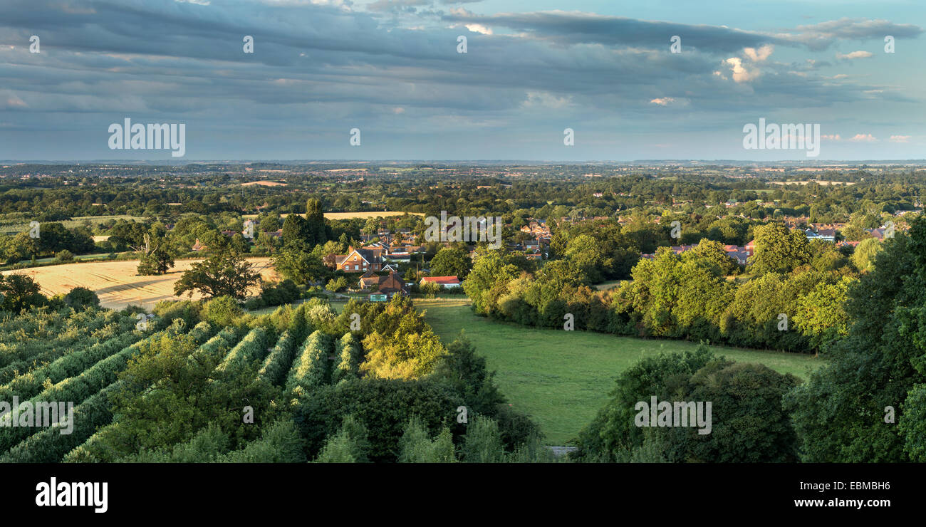 View across farmland in Worcestershire from the Malvern Hills Stock Photo