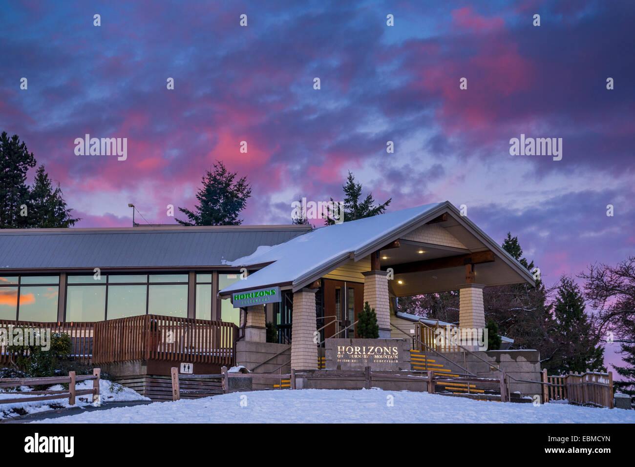 Horizons Restaurant atop Burnaby Mountain, Burnaby, British Columbia, Canada - Stock Image